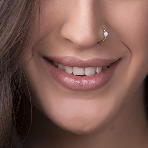 White Opal Nose Ring - 14k Gold Filled Nose Piercing hoop
