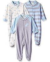 GERBER Baby Boys' 3-Pack Organic Sleep 'N Play, Stripe Bear, 0-3 Months