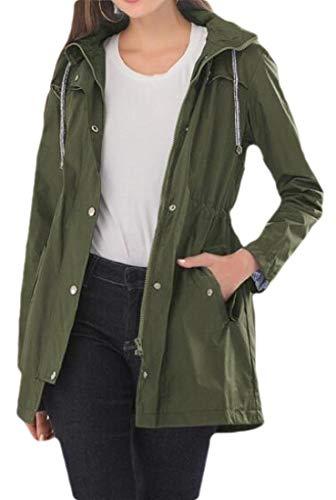 SELX Women Hooded Trench-Coat Solid Waterproof Casual Mid Length Jacket Windbreaker 3 XL