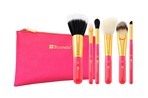 BH Cosmetics Neon Pink 6 Piece Brush Set with Cosmetic Bag