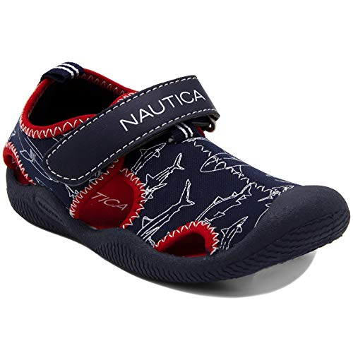 Nautica Kids Kettle Gulf Protective Water ShoeClosed-Toe Sport Sandal-Shark Print-12