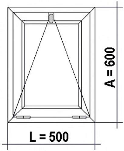 ECO-BLU V07M Finestra PVC Bagno 500 x 600 Battitacco pieghevole Climalit opaco, bianco