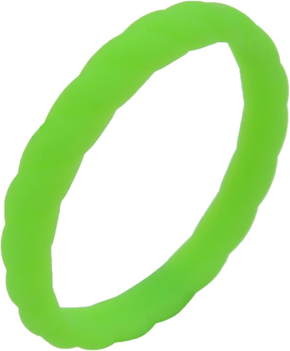 Silicone Wedding Ring for Women/Men, Thin and Stackable Braided Rubber Bands, Breathable Airflow Inner Curve, Fashion, Comfortable, Safe, Unisex Silica Gel Ring (Green, 4)