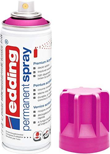 edding 5200 Permanent-Spray - tele-magenta matt - 200 ml - Acryllack zum Lackieren und Dekorieren von Glas, Metall, Holz, Keramik, lackierb. Kunststoff, Leinwand, u. v. m. - Sprühfarbe