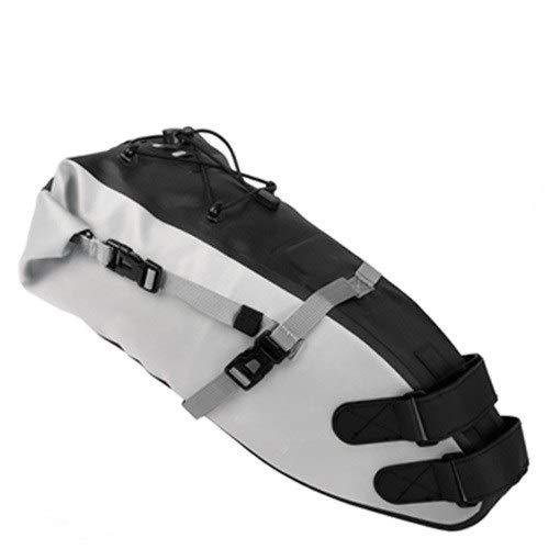 NDJPN 自転車防水自転車サドルバッグリフレクティブ・大容量折り畳み式のテールリアバッグサイクリングMTBトランクパニエブラック (Color : 10L Gray)