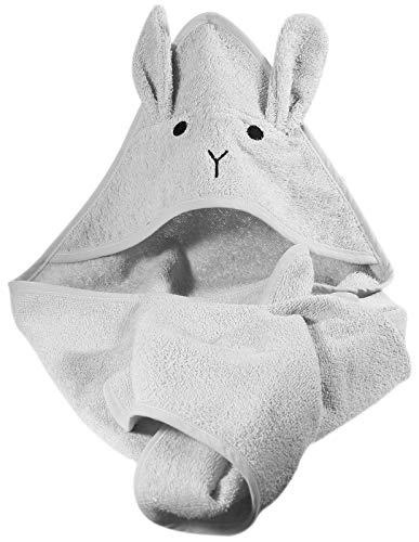 Kindsgut Kapuzenhandtuch Hase aus 100% OEKO-TEX®-zertifizierter Baumwolle, kuschelig weich für Babys und Kleinkinder, ideal für zuhause oder unterwegs, Grau