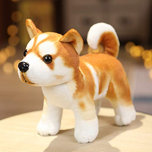 Dog Stuffed Animal Simulation Dogs Plush Toy Cute Doggy Plushies Husky, Shepherd, Bulldog, Shiba Inu, Dalmatian, Gifts Toys for Kids Boys Girls All Ages, 7.08' Tall (B Stand)