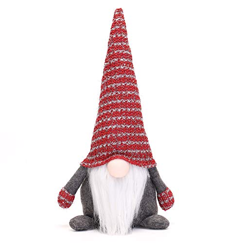 16 Inches Handmade Christmas Gnome Decoration Swedish Face Figurines (Red-New)