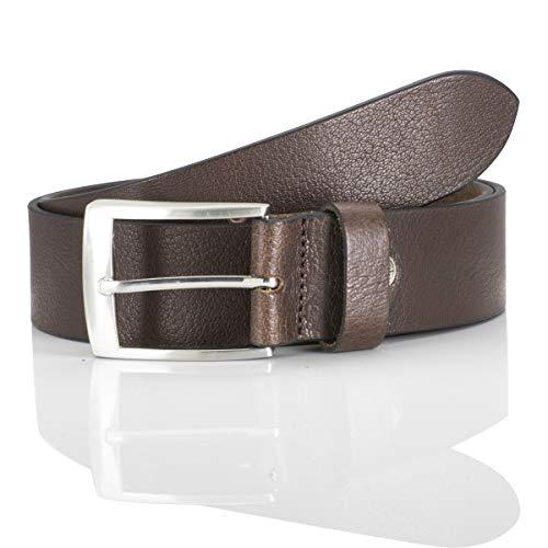 Lindenmann men's leather belt/men's belt, full grain leather, brown, Größe/Size:110, Farbe/Color:marron