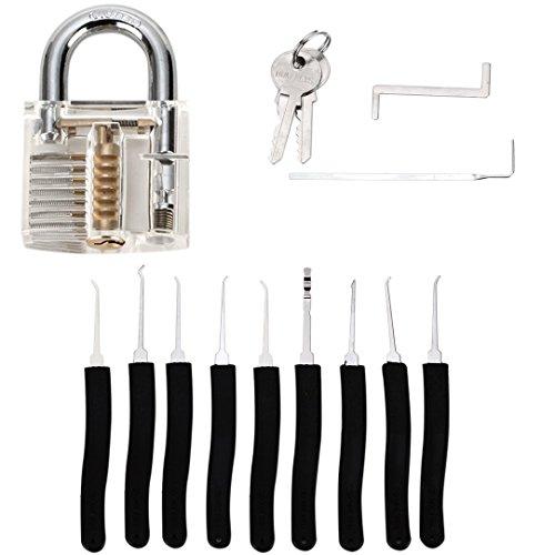 Grimaldelli set 11 Pz. con Lucchetto trasparente, LOMATEE Lock picking set,Serratura apertura,Strumenti di Fabbro