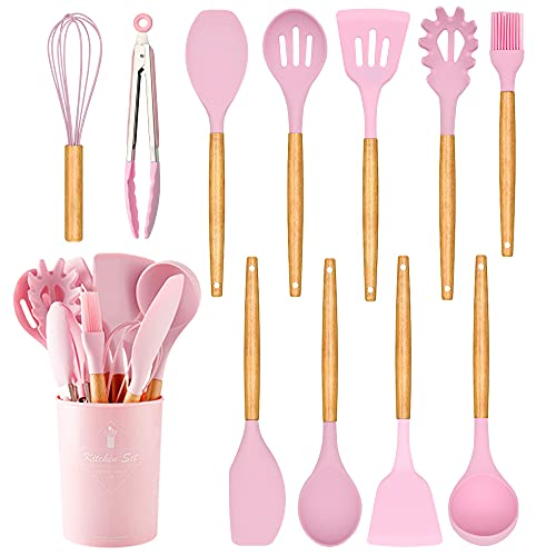 Caliamary Silicone Kitchen Utensil Set, 11 Pieces Cooking Utensil with Wooden Handles, Utensil Holder for Nonstick Cookware, Spoon, Soup Ladle, Slotted Turner, Whisk, Tongs, Brush, Pasta Server (Pink)
