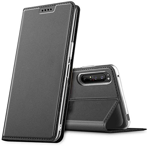Verco Handyhülle für Sony Xperia 1 II, Premium Handy Flip Cover für Sony Xperia 1 II Hülle [integr. Magnet] Book Hülle PU Leder Tasche, Schwarz