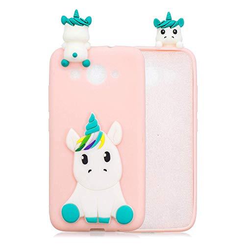 HongYong Handyhülle für Huawei Y3 (2018) - Hülle Fantastic Case - Einhorn auf Rosaem Grund - Hülle Schutzhülle Etui Case Cover Tasche für Handy