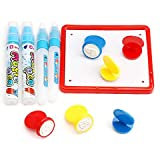 Doodle Pen,Water Doodle Replacement Pen Water Drawing Painting pens Watermark Stamp Seal for All Doodle Mats Drawing Painting Boards (4 Pens, 6 Stamp Seals, 1 Plate)