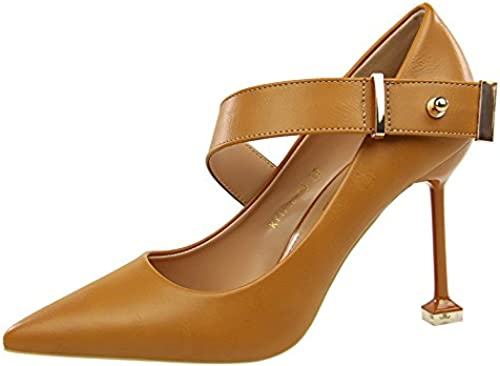 FLYRCX Style européen AHommesde avec la Bouche Peu Profonde a Fait Une Boucle en métal à Talons Hauts Les Les Les dames Chaussures de soirée Chaussures de Plein air