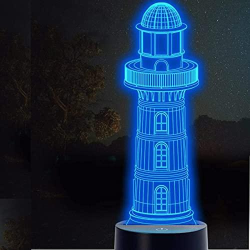 3D LED lámparas Faro ilusion optica luz de noche 7 colores Contacto Arte Escultura luces con cables USB Lampara Decoracion Dormitorio escritorio mesa para niños adultos