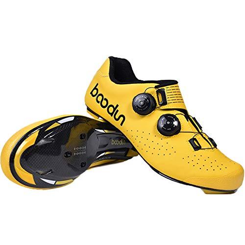 KUXUAN Calzado De Ciclismo para Hombre,Calzado De Bicicleta De Carretera Fibra De Carbono Hebilla De Doble Columna Calzado De Bicicleta Ultraligero Zapatilla De Bicicleta con Autobloqueo,Yellow-44EU