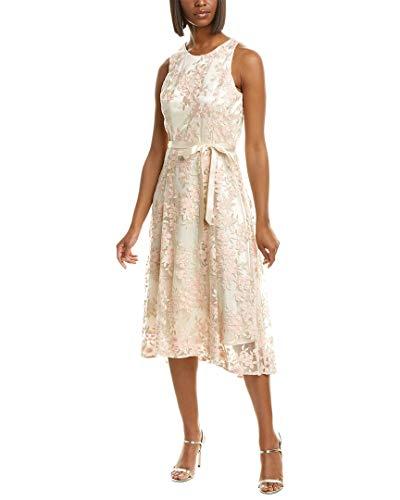 Tahari ASL Women's Sleeveless Embroidered Mesh Midi Dress Formal, Champagne Petal, 16