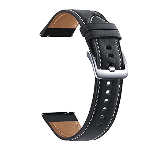 HENHEN Jun store - Correa de reloj de 22 mm para Huami Amazfit GTR 2 2E de cuero auténtico Gtr2 GTR de 47 mm Stratos 3 2 Correa de reloj (Color de la correa: Negro-Plata, Ancho de la correa: 22 mm)
