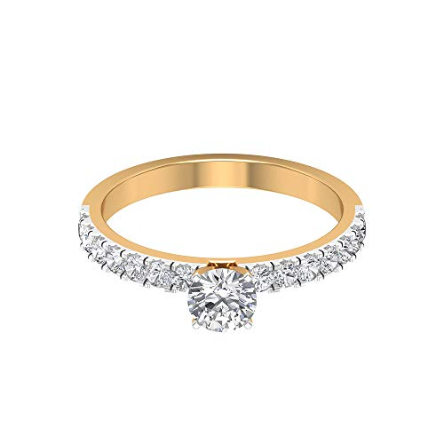 0,92 Karat Solitär Diamant Gold Statement Ring, Klassischer Damen Mixed Metall Ring, SGL zertifizierter Diamant Sidestone Ring, 14K Gelbes Gold, Size:EU 70