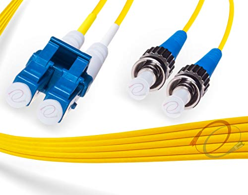 FiberCablesDirect - 3M OS2 LC ST Fiber Patch Cable | 10Gb Duplex 9/125 LC to ST Singlemode Jumper 3 Meter (9.84ft) | Length Options: 0.5M - 300M | 1gb 10gb smf UPC sfp 10gbase sm PVC ofnr lc-st