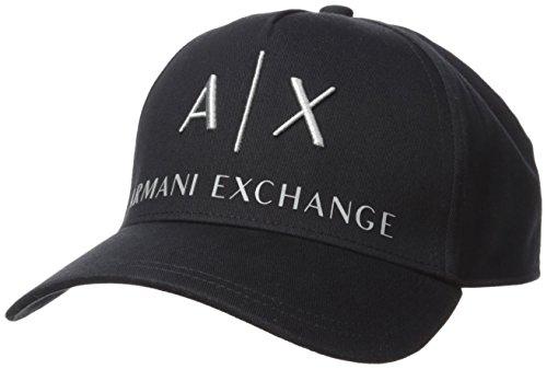 Armani Exchange Herren Corp Logo Baseball Cap, Schwarz (Nero-Black 00020), One Size (Herstellergröße: TU)