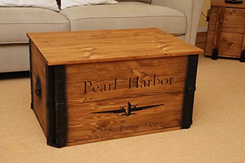 Uncle Joe´s Truhe Pearl Harbor Couchtisch Truhentisch im Vintage Shabby chic Style aus Massiv-Holz in braun mit Stauraum und Deckel Holzkiste Beistelltisch Landhaus Wohnzimmertisch Holztisch nussbaum - 6