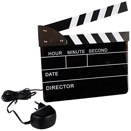 Out of the blue Despertador Digital, diseño de Claqueta de Cine, con Adaptador GS, Negro, 22x22cm