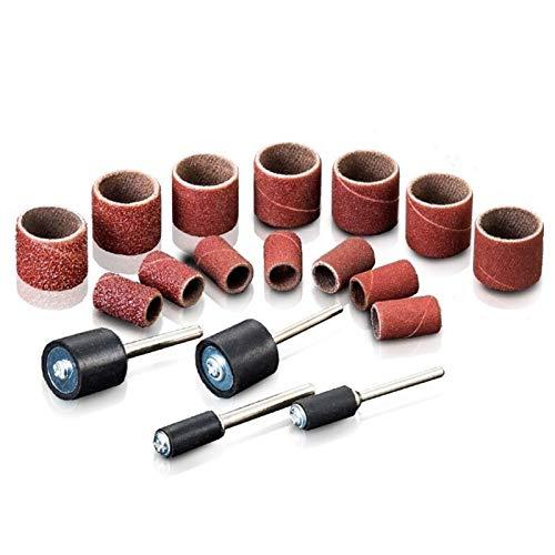 WNJ-Tools Bandas de Lija 100PCS Banda de Tambores de Papel de Lija + 2 Forma Mandril for Sand Groove Maderas de Fibra de Vidrio for la Herramienta rotativa Dremel