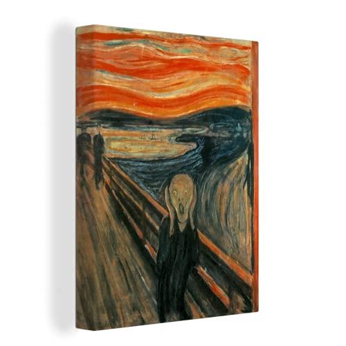 Canvas Schilderijen De schreeuw – Edvard Munch – 90×120 cm – Wanddecoratie – canvas met 2cm dik frame