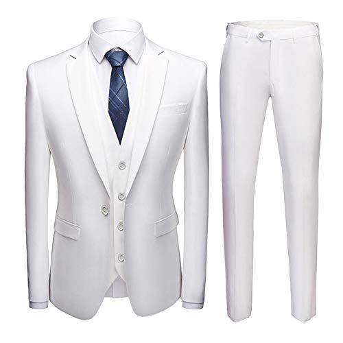 HUINI Costume Slim Fit 3 Pièce Homme Smoking Couleur Unie Mariage Business avec Gilet Veston Pantalon de Costum Grande Taille Blanc S