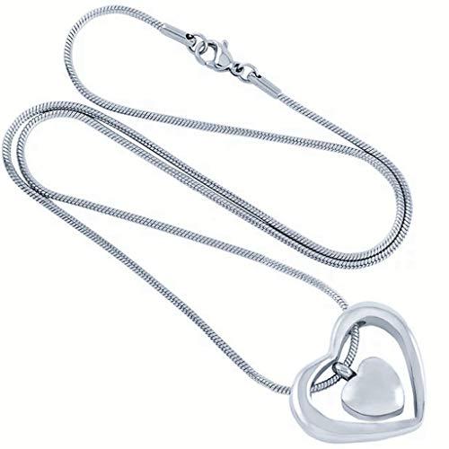 Accessoires Can Open Double Heart Hangers, Animal Urn Ketting Memorial Tegenhanger van de Herinnering (Color : Stainless steel)