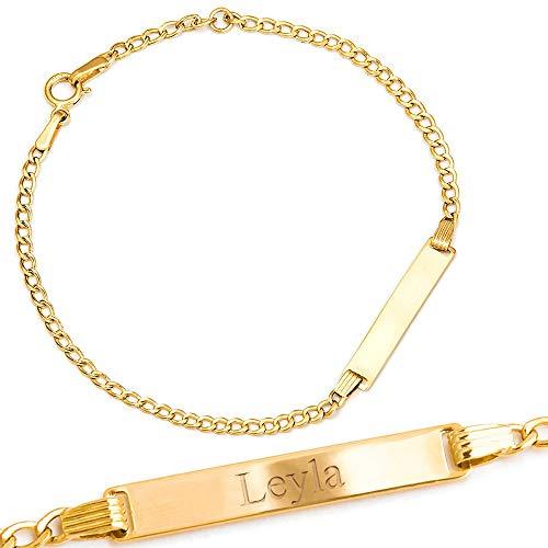 Maverton ID Kinder Armband 585 Gold - mit Namen + personalisierte Geschenkbox mit Gravur - Geschenk zur Geburt Taufe Geburtstag - Länge: 14 - 16 cm - 14 Karat