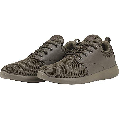 Urban Classics Damen und Herren Light Runner Shoe, Low-Top Sneaker für Damen und Herren, Sportschuhe mit Schnürung, Dark Olive, Größe 38