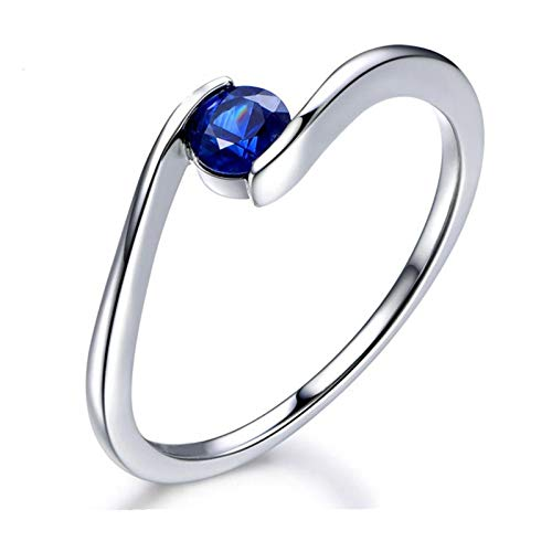 AueDsa Anillo Mujer Plata de Ley 925,Anillo Mujer Azul Zafiro Redondo 5X5MM Zafiro Azul Anillos Compromiso Mujer Solitario Talla 12