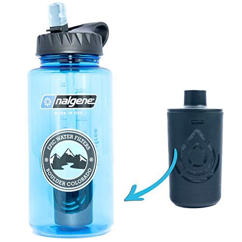 Epic Nalgene OG | Water Filtration Bottle | Wide Mouth 32 oz | American Made Bottle | USA Made Filter Removes 99.99% of Tap Water Contaminants Lead Chlorine Chromium 6 Arsenic Chloroform (Slate Blue)
