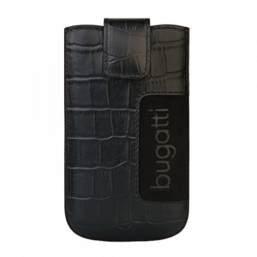 Bugatti Handy Leder Tasche – Slim Case Leather Croco - in Black – Size SL für für kompatible Samsung Mobiltelefone
