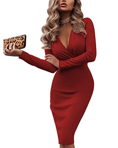 Minetom Damen Sexy Tief V Ausschnitt Kleid Bodycon Langarm Winterkleid Cocktailkleid Bleistiftkleid Business Kleider Vintage Knielang Midi Club Kleid Rot 38