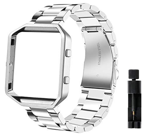 Valchinova - Cinturino di ricambio per Fitbit Blaze, in acciaio inox, con telaio in metallo, per uomo e donna, colore: Argento