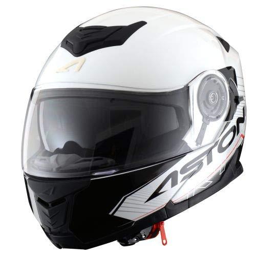 Astone Helmets - RT1200 Graphic Touring - Casque de moto modulable - Casque de moto polyvalent - Casque de moto homologué - Coque en polycarbonate - white/black XL