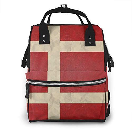 Deense vlag grote capaciteit multifunctionele mama rugzak grote capaciteit landscap licht baby luier zakken