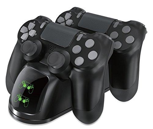 Geekhome Twin PS4 Station de Charge Double Double pour 2 Jeux de Jeux Playstation 4 Dualshock Manette de Jeu