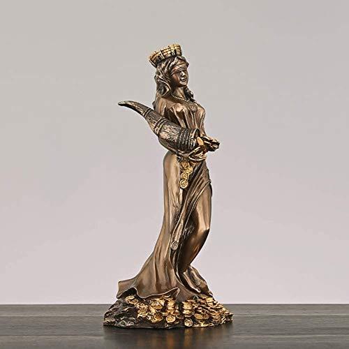 XHCP Estatua de la Diosa de la Suerte Figura de la Fortuna del Destino, sosteniendo la Escultura del Cuerno de la abundancia con los Ojos vendados Figura de la Diosa de la Suerte Greco-