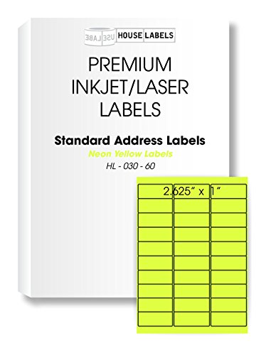 """HOUSELABELS 30 Up NEON Fluorescent Yellow Address Labels (1"""" x 2-5/8"""") for Laser and Inkjet Printers, 25 Sheets / 750 Labels"""