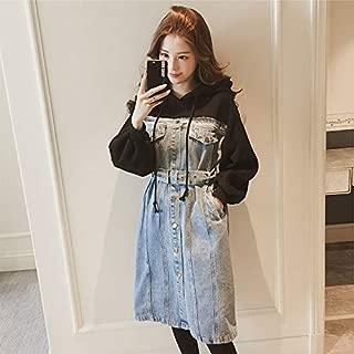 YIBEIANYU Girls Long Section Hooded Sweater Two Stitching Denim Skirt Large Size Dress Knee