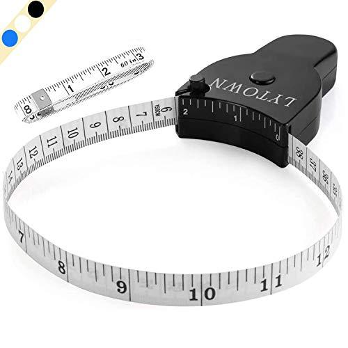 Tape Measure Body Measuring Tape 60inch (150cm), Lock Pin & Push Button Retract, Ergonomic Design, Durable Measuring Tapes for Body Measurement & Weight Loss, Accurate Sewing Tape Measure, Black+White