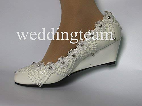 New Style White Lace Low Heel Wedding