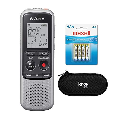 Sony ICD-BX140 4GB Digital Voice Recorder with EVA Hard carryign case and 2 Extra Sony AAA Stamina Batteries