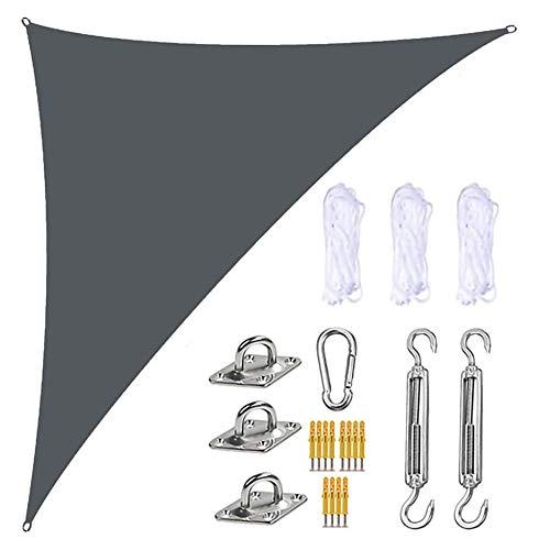 LEDL Toldo de Vela Solar, HDPE Transpirable protección UV Toldo Vela de Sombra Triangular para Patio, Exteriores, Jardín