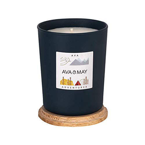 AVA & MAY AVA Scented Candle (180g) - Vegan Candle in Jar with Woody Fragrances of Cardamom, Mint and Musk - Handmade Candle with Nature Feeling